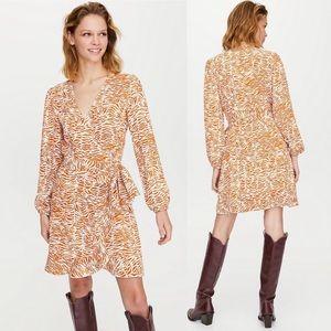 NWT Aritzia Little Moon Animal Print Wrap Dress Long Sleeve Amber Earth Size XXS